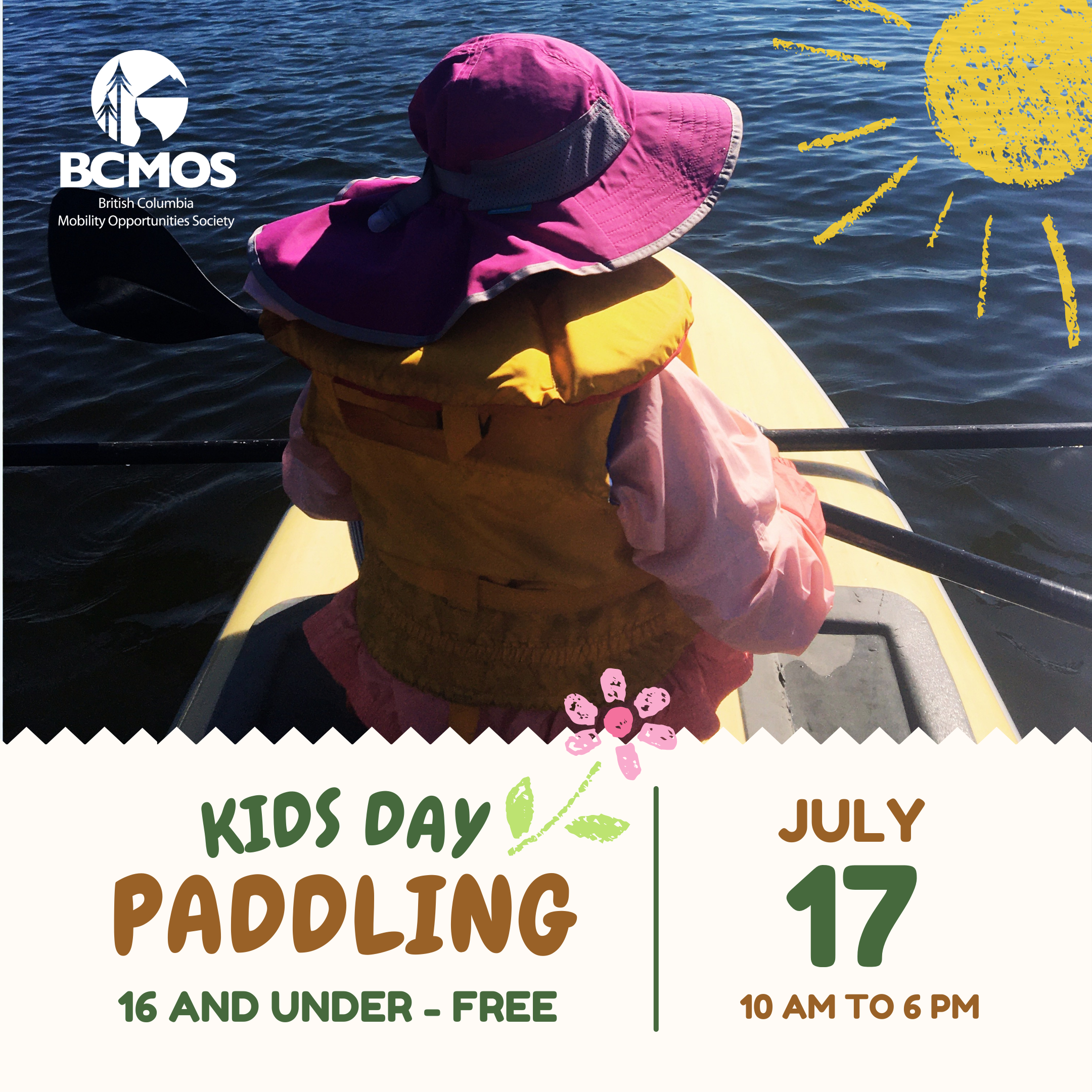 Child sitting on paddle board on the water. (Kids Day Paddling. 16 and under free. July 17, 10 am to 6 pm.)